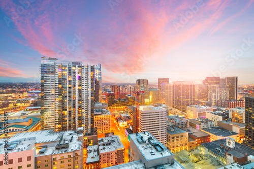 Denver, Colorado, USA downtown cityscape rooftop view