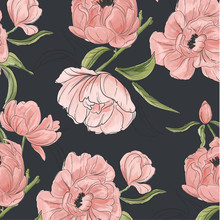 Vector Vintage Floral Composition Set With Peony Hand-drawn Flowers And Greenery Leaves. Garden Decoration Fabrics. Modern Botanical Pattern