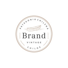 Vintage Wood Boat Vector Logo Design