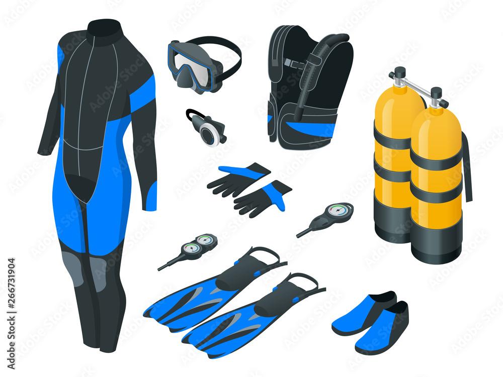 Fototapeta Isometric mans Scuba gear and accessories . Equipment for diving. IDiver wetsuit, scuba mask, snorkel, fins, regulator dive icons Underwater activity diving equipment and accessories Underwater sport