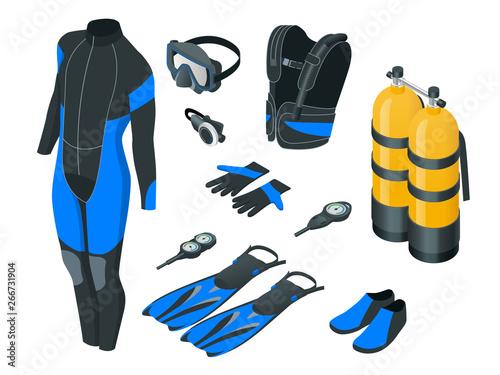 Fotografia Isometric mans Scuba gear and accessories