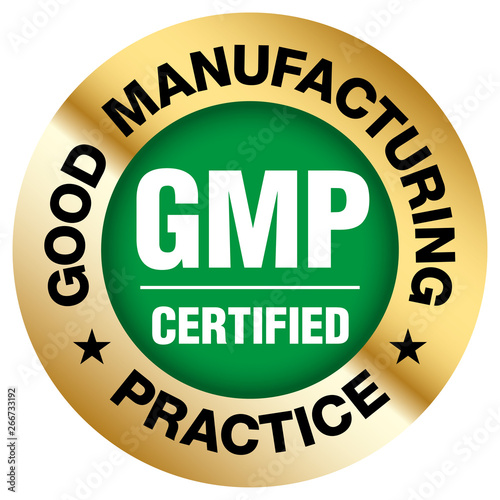 GMP (Good Manufacturing Practice) certified round stamp on white background - Ve Canvas Print