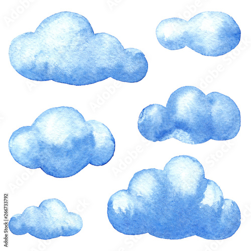 Poster Ciel Set of watercolor clouds on the white background. Hand drawing. Template for weather illustrations. Elements for scrapbooking and wrapping paper.