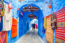 Street Market In Blue Medina Of City Chefchaouen,  Morocco, Africa.