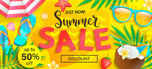 Fotografía  Summer sale, just now discount banner