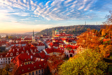 Amazing Sunrise Over Prague Old City, Scenic Top View Of The Historic Medieval Architecture From Popular Viewpoint On Prague Castle Hill. Colorful Cityscape Of European Capital, Czech Republic
