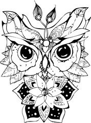 Black and white picture of an psychodellic Owl. Ornament, pattern, night, planets. Tattoo idea.