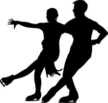 Figure Skating Couple 1 Isolated Vector Silhouette