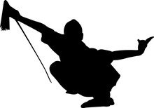Wushu 3 Isolated Vector Silhouette