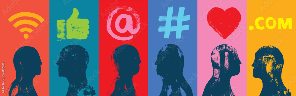 Fototapeta Six Head Silhouettes, Side Profiles, Social Media Symbols, Grunge Texture, Colorful, Illustration, Wide, Instagram Followers, Facebook likes, Digital media, Web banner, LinkedIn, Google Adwords, Users
