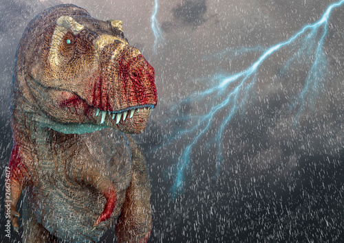 Fotomural tyrannosaurus rex in a storm sky background