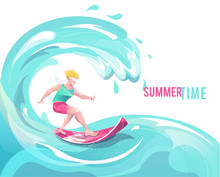 Concept In Flat Style With Surfing Man.