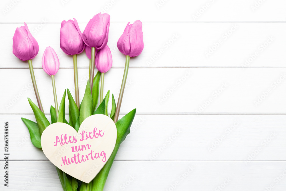 Leinwandbild Motiv - pixelliebe : Alles Liebe zum Muttertag mit Tulpen und Herz