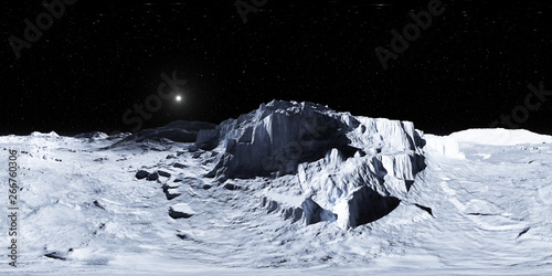 360 degree view from Earth's Moon, equirectangular projection, environment map. HDRI spherical panorama. Space background