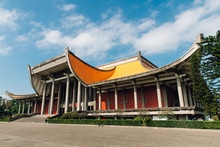 The National Dr. Sun Yat-Sen Memorial Hall With Blue Sky And Cloud With Nobody In Taipei, Taiwan.