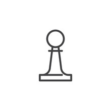 Chess Pawn Line Icon. Linear S...
