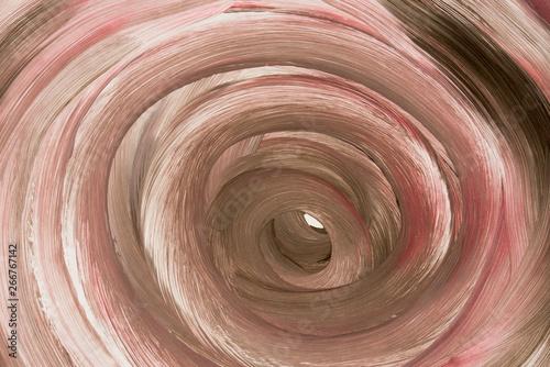 Montage in der Fensternische Spirale brown painted circle pattern on white paper background texture