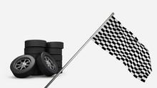 Racing Tires And Racing Flag