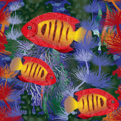 Panel Szklany Do Spa Seamless underwater background with tropical fish, vector illustration