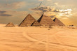 Sunset over the Pyramids of Giza, Egypt