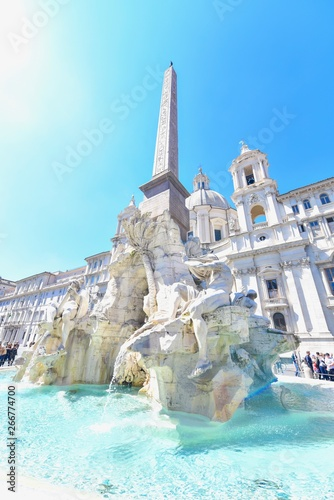 Fountain of the Four Rivers at Piazza Navona in Italy Wallpaper Mural