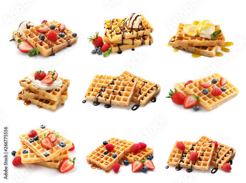 Pinturas sobre lienzo  Set of delicious waffles with different toppings on white background