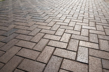 Texture Of Road Tiles With Herringbone Pattern. Perspective View