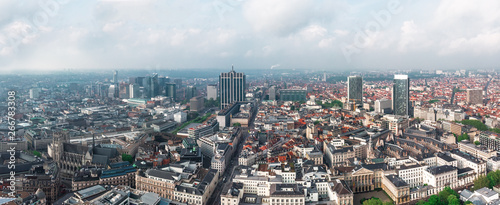 Aerial view of central Brussels, Belgium - 266783308