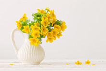 Still Life With Yellow Spring Flowers In Jug