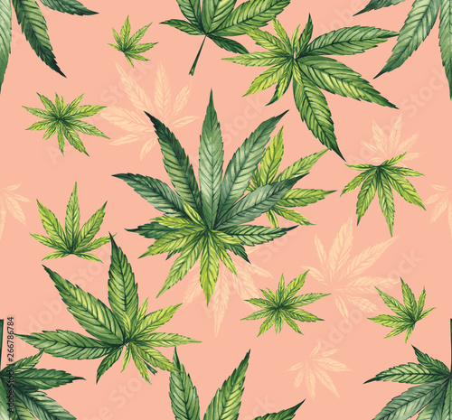 Fototapeta Watercolor pattern of hemp leaves on a coral background. Fine print for fabric. obraz