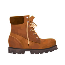 Hiking Mountain Boot Isolated On White Background