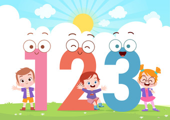 kids play number vector ill...