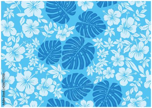 モンステラ柄とハイビスカス柄の背景イラスト 水色 |テキスタイル 総柄・シームレス|Hibiscus and Monstera pattern background