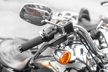 Classic Chrome Cruiser. Motorcycle Handle. Front Brake. The Gas Lever On The Chopper. Speed Dialing. Details Of The Motorcycle Close-up. Part Of The Biker Steering. Front Turn Signal.