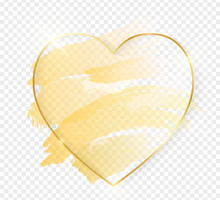 Gold Shiny Glowing Heart Frame...