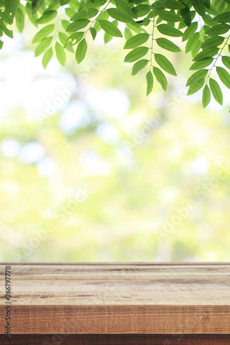 Fototapeta Wooden table and blurred green nature garden background. obraz na płótnie