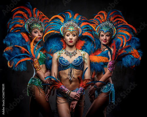 Deurstickers Carnaval Studio portrait of a group professional dancers female in colorful sumptuous carnival feather suits. Isolated on a dark background.