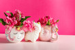 canvas print picture - Unicorn and Flamingo mugs with Alstroemeria on bright pink background. Idea of Girly settings. Vivid postcard for any holidays