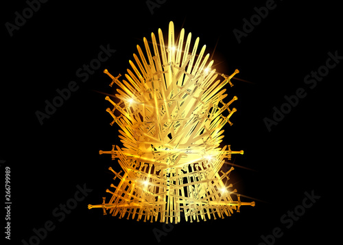 Fotografie, Obraz  Hand drawn golden iron throne of Westeros made of antique swords or metal blades