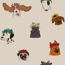Seamless Pattern With Dogs In Floral Wreaths