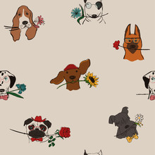 Seamless Pattern With Dogs Holding Flowers.