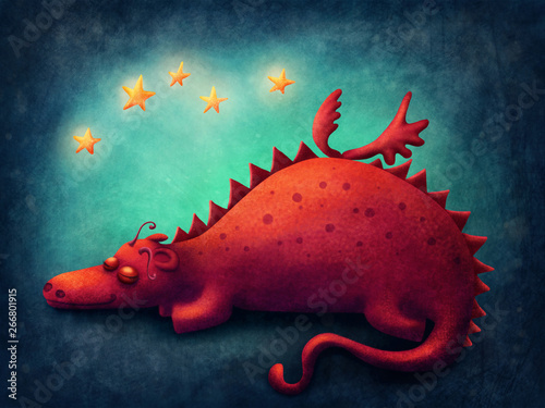 Fototapeta Red dragon sleeping