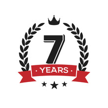 7 Th Birthday Vintage Logo Tem...