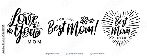 Carta da parati Set of greeting texts for Mother's Day holiday.