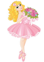 Little Cute  Ballerina Holding...