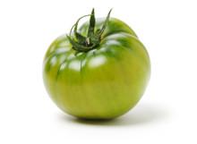 Fresh Green Tomato Isolated On White Background