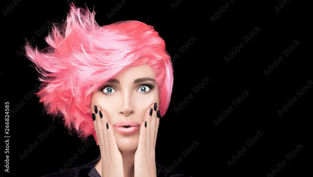 Fototapeta Fashion model girl with stylish pink hair. Beauty salon hair coloring concept. Short hairstyle