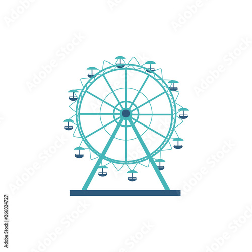 Slika na platnu Round silhouette and icon of a ferris wheel, carousel for an amusement park and entertainment