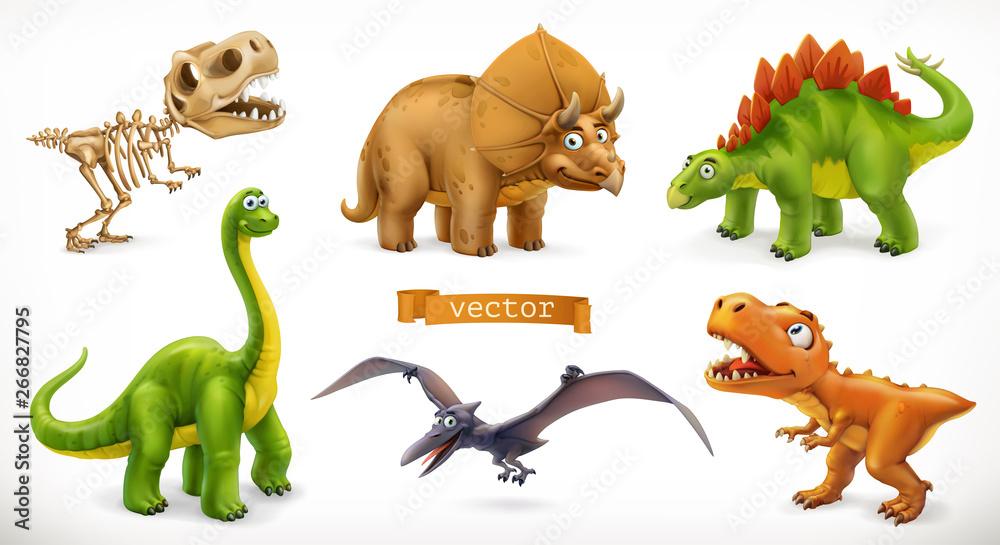 Fototapety, obrazy: Dinosaurs cartoon character. Brachiosaurus, pterodactyl, tyrannosaurus rex, dinosaur skeleton, triceratops, stegosaurus. Funny animal 3d vector icon set