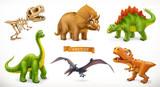 Fototapeta Dinusie - Dinosaurs cartoon character. Brachiosaurus, pterodactyl, tyrannosaurus rex, dinosaur skeleton, triceratops, stegosaurus. Funny animal 3d vector icon set